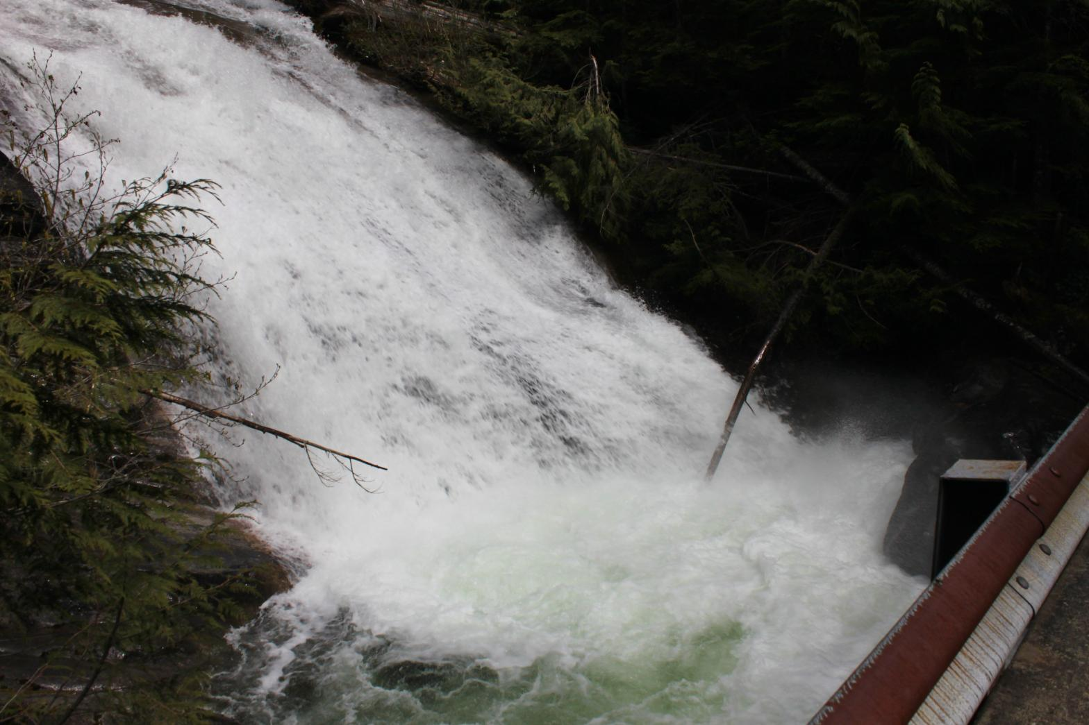 Looking down at the bottom of Big Creek Falls